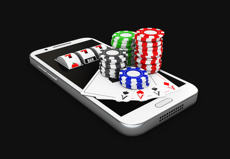 3d Illustration, Mobile phone and chips. Online casino concept. isolated black