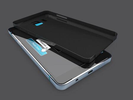 3D-afbeelding van lege zwarte zaak op telefoon. geïsoleerd donkergrijs Stockfoto