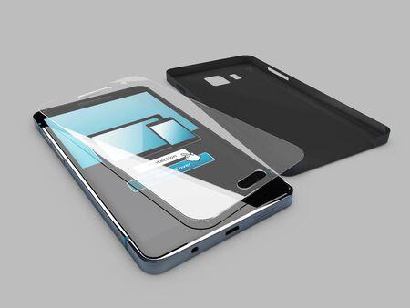 3d illustratie van cellphone, schermbescherming en leeg geval, geïsoleerde grijs