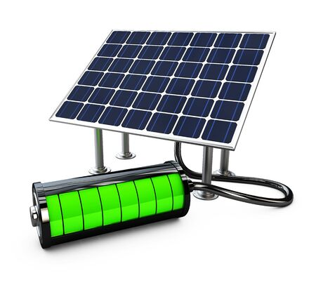 generate: Solar panel with full battery. isolated on white background 3d illustration.