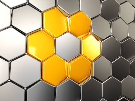 3d Illustration abstract yellow hexagonal, Background with hexagon element Stock Photo