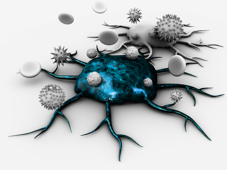 3d Illustration of blue Cancer cell with ambient blood cells and other bacteria, white background. Stock Photo