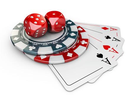 3d Illustration of Casino Elements, isolated white background Stock Photo