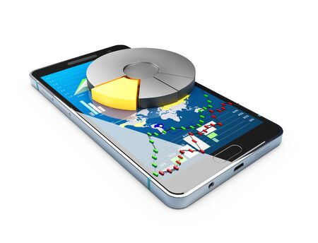 3d Illustration of phone with chart pie and stock market char on the screen, Stock market online business concept. Stock Photo
