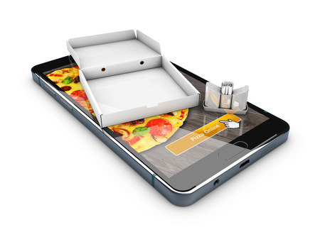 buy now: 3d illustration of Smartphone with pizza of box. Online Food Delivery.