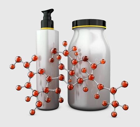 bottles with hyaluronic acid and hyaluronic acid chemical molecule, advertising design template cosmetics. 3d Rendering