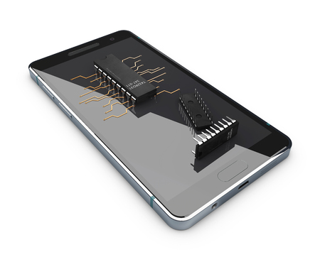 potentiometer: Transistors on the phone screen, concept of Electronic components. isolated on white background. 3d illustration Stock Photo