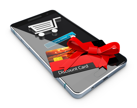 financial reward: discount voucher on the phone screen. gift certificate business card, 3d illustration Stock Photo