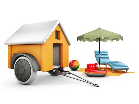 3d Illustration of Mobile Trailer House with Sun umbrella, chair and toys