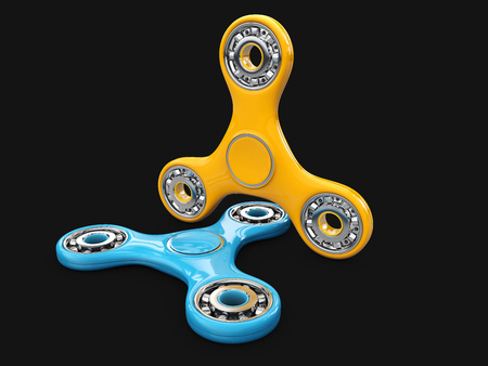 stress ball: Yellow and Blue spinner fidget 3d illustration, Relaxation hand spinner device.
