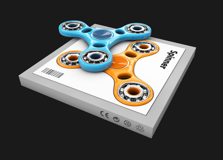 Hand Fid Spinners Toy In The Box 3d Illustration Stock