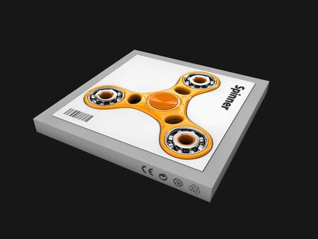 spinning: 3d Illustration of Hand fidget spinner toy, isolated black Stock Photo