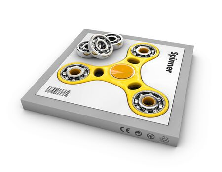 Yellow hand spinners toy in the box, 3d Illustration Stock Photo