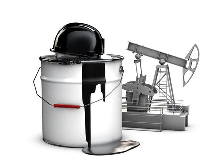 3d illustration of barrel oil with hamlet and oil pump, isolated black