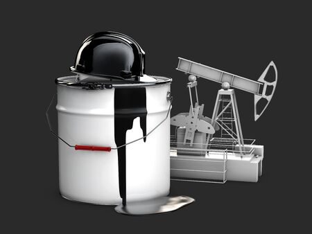 hamlet: Oil pump with barrel oil and hamlet, 3d illustration isolated black Stock Photo
