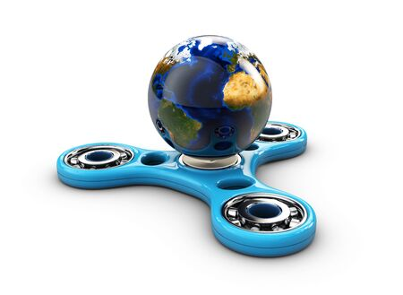 Hand fidget spinner toy with earth. 3d Illustration