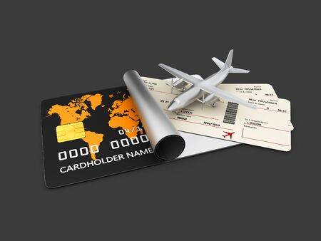 departure board: A boarding pass tickets. 3d illustration Isolated black