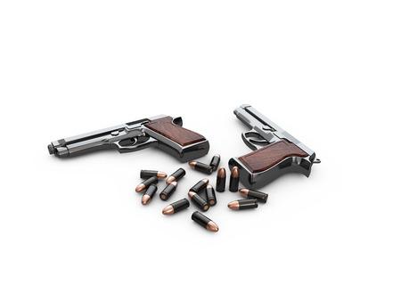 Pistol Gun 3d Illustration on white background Stock Photo