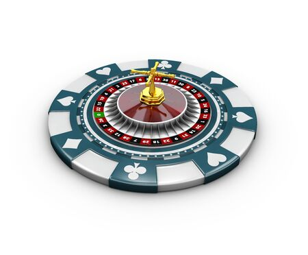 3d Illustration of casino chips and roulette. isolated on white Stock Photo