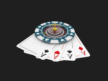 bets: Casino blue chip and roullette on the play card. isolated black 3d Illustration Stock Photo