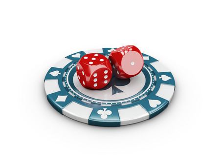 Casino Concept Dice and Chips, 3d Illustration