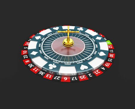 Casino roulette wheel, 3d Illustration isolated black