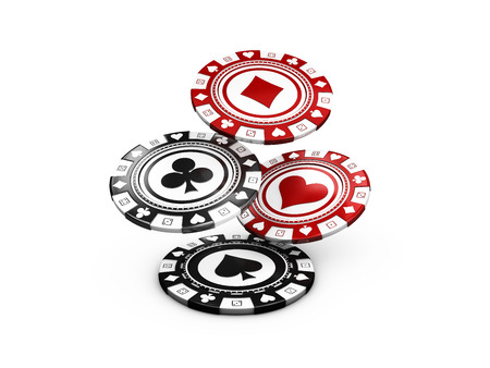 3d illustration of flying Pocker Chips, Casino Concept isolated on white
