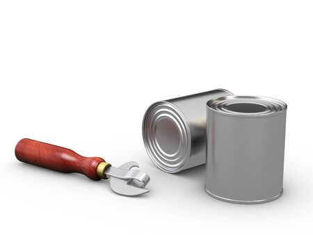 3d Illustration of closed food tin cans and can opener Stock Photo