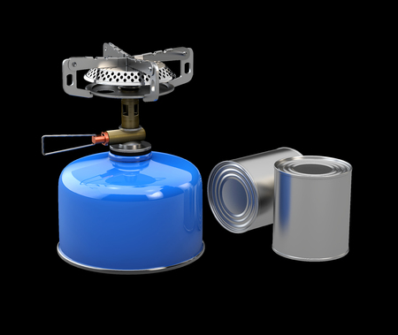 3d Illustration of Tin cans and Camping stove. isolated black