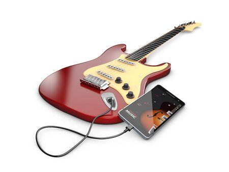 Learning guitar online. Musical app, 3d illustration Stock Photo