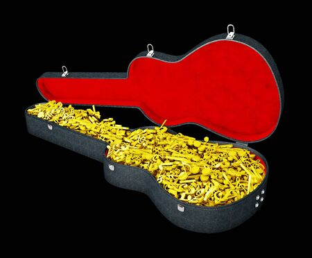 A notes in the guitar case, 3d Illustration isolated black