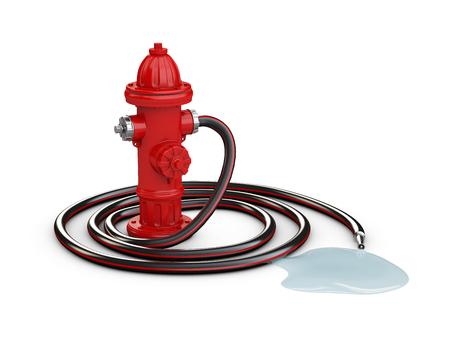 Rode brandkraan en Brandslang, 3d Illustratie geïsoleerd wit