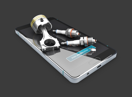 auto repair: On the phone engine piston and spark plugs, isolated blak. 3d illustration
