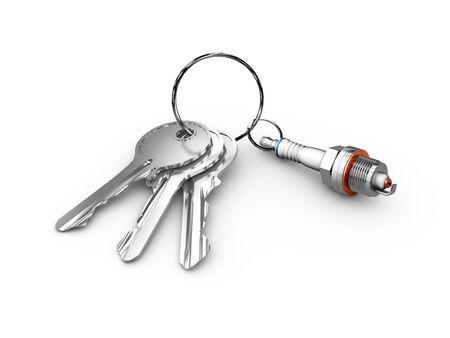 chrome: Isolated monochrome 3d illustration of engine spark plug and keys. on white background. Stock Photo