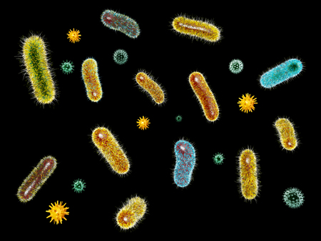 3d Illustration of Virus bacteria. Microorganisms and bacillus. Stock Photo