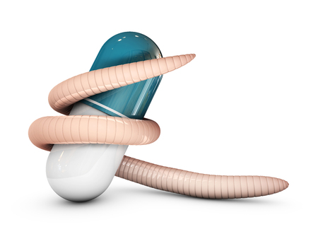 Parasitic worm around a pill, 3d Illustration isolated white. Stock Photo