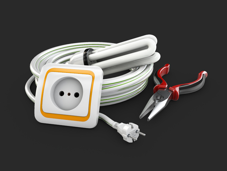 Electric components, Electrical cable, Socket and pliers. 3d illustration isolated black.