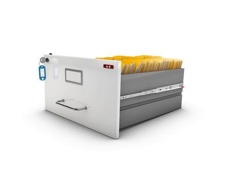 3D-afbeelding van open lade met gele mappen.