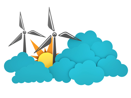 Windmill, sun and cloud flat design 3d illustration, isolated withe background