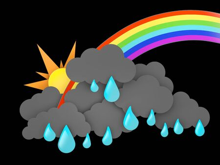 3d illustration of Rainbow, Rainclouds and Sun with water drops on black background