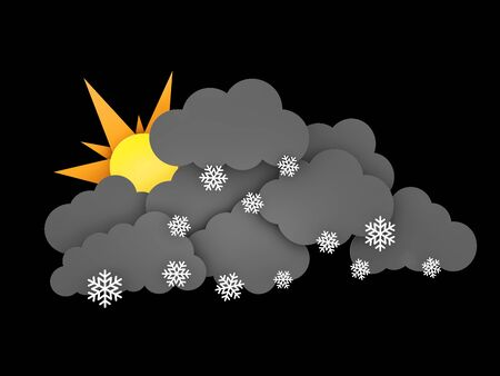 3d illustration of Snowflakes, Rainclouds and Sun on black background Stock Photo