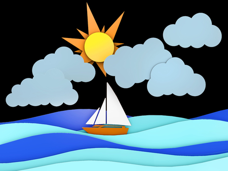 Sea, ship and cloud with separate layers in 2d graphic, 3d Illustration on black background Stock Photo
