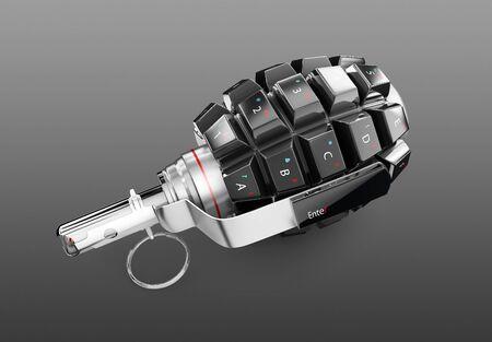 Keyboard grenade, isolated on black background, 3d Illustration Stock Photo