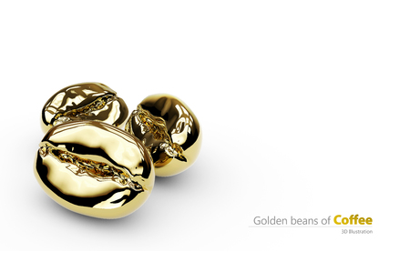 3d Illustration of golden coffee beans, isolated white.