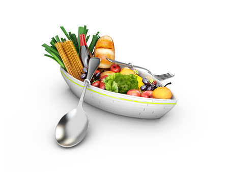 3d boat: 3d illustration of a plate in the form of a boat with products. Healthy food.