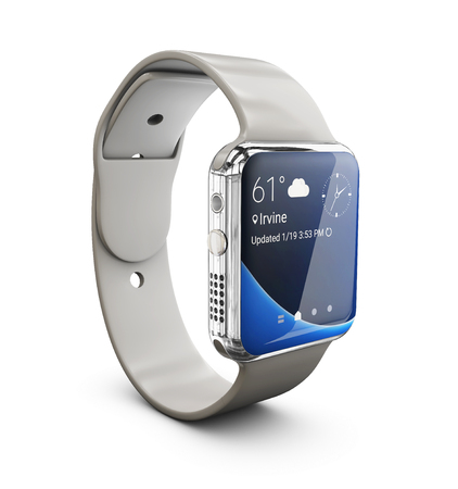 3d Illustration of silver Smart watch on white background