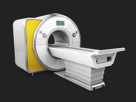 Magnetic Resonance Imaging Machine Isolated on Black Background. Medical MRI Scanner, 3D Illustration.