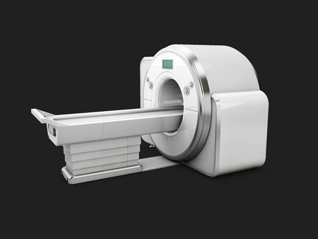 Magnetic Resonance Imaging Machine Isolated on Black Background. Medical MRI Scanner, 3D Illustration
