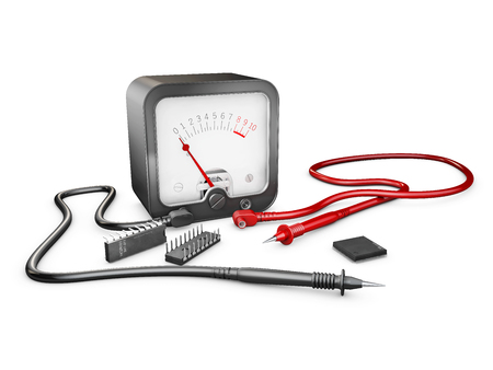 3d Illustration of electrician multimeter tester and chips, isolated on white.