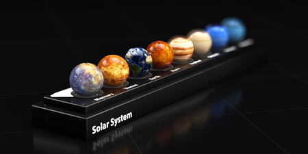 The planets of our solar system. Blured background, 3d illustration.